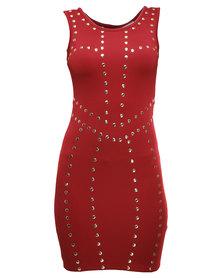 Rare London Stud Dress Red