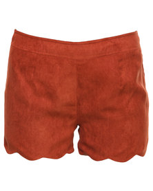 Rare London Scallop Edge Shorts Rust