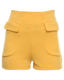 Rare London High-Waisted Shorts Yellow