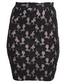 Rare London Lace Pencil Skirt Black