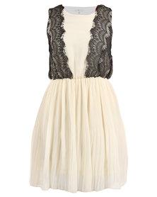 Rare London Lace Trim Pleated Dress Cream