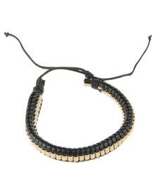 Rebel Road Ribbed Wrap Leather Bracelet Black