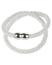 Rebel Road Braided Leather Bracelet White