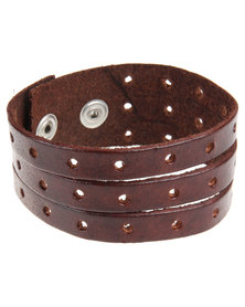Rebel Road Leather Gladiator Bracelet Brown