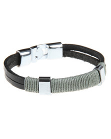 Rebel Road Leather Bracelet With Beige Cotton Cord Black