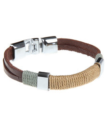 Rebel Road Leather Bracelet with Beige Cotton Cord Brown