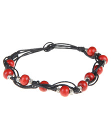 Rebel Road Wood Bead Bracelet Red