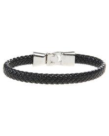 Rebel Road Leather and Alloy Snap Bracelet Black