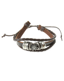 Rebel Road Leather Cord Bracelet With Ring Beads Brown
