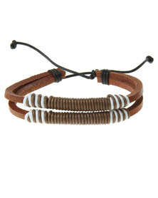 Rebel Road Leather Bracelet With Wax Cord Brown