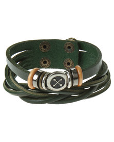 Rebel Road Mutli Strand Leather Cord Bracelet Green
