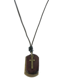 Rebel Road Cross on Tag Necklace Brown
