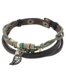 Rebel Road Leaf Charm Leather Bracelet Brown