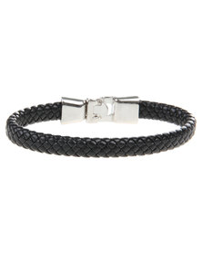 Rebel Road Leather and Alloy Snap Bracelet Black