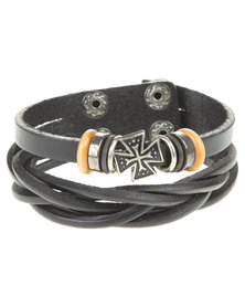 Rebel Road Multi Strand Leather Bracelet with Charms Black
