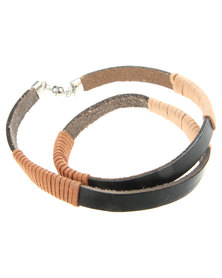 Rebel Road Suede & Leather Triple Wrap Bracelet Black/Brown