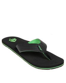 Reef Quencha TQT Flip Flops Black & Green