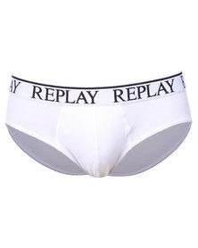 Replay Elastic Cotton Trunks White