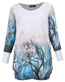 Revenge Forest Print Tunic Dress Grey