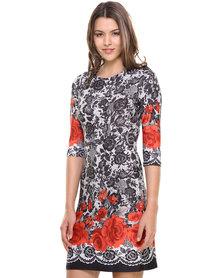 Revenge Rose Lace Print 3/4 Sleeve Dress Multi