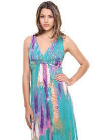 Revenge Feather Print Maxi Dress Purple
