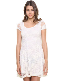 Revenge Floral Lace Flared Dress Cream