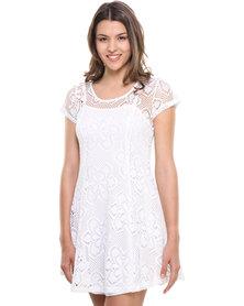 Revenge Lace Skater Style Dress with Short Sleeves Cream