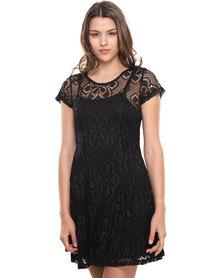 Revenge Lace Skater Style Dress with Short Sleeves Black