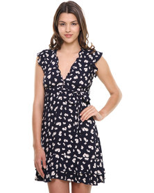 Revenge Frill Detail with Belt Tie and Button Front Dress Navy