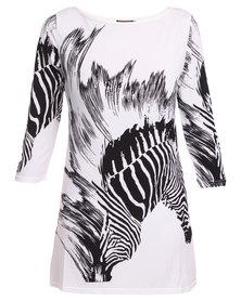 Revenge Zebra Print Shift Dress White