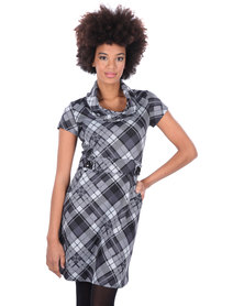 Revenge Cowl Neck Plaid Dress Grey