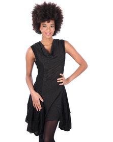 Revenge Cowl Neck Tiered Dress Black