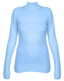 Revenge Polo Neck Jersey Pastel Blue