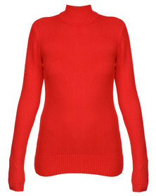 Revenge Polo Neck Jersey Red