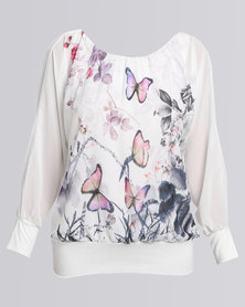 Revenge Butterfly Long Sleeve Top White