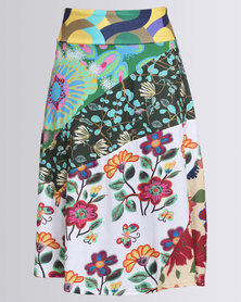 Revenge Multi Print Skirt Blue