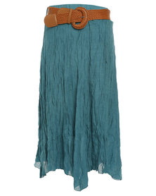 Revenge Wide Belt Midi Skirt Green