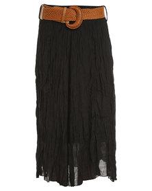 Revenge Wide Belt Midi Skirt Black