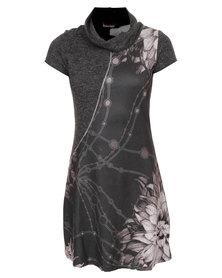 Revenge Rose Print Short Sleeve Dress Multi