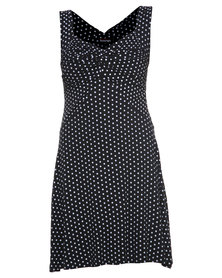 Revenge Dot Print Dress Black