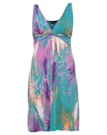 Revenge Feather Print Dress Turquoise