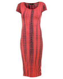 Revenge X-Ray Print T-Shirt Mid Length Dress Red