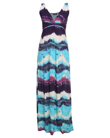 Revenge Waves Print Maxi Dress Multi