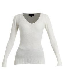 Revenge V-Neck Sweater White
