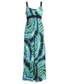 Revenge Tie Dye Print Maxi Dress Multi