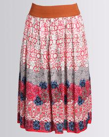 Revenge Mid Length Elastic Waist Skirt Multi