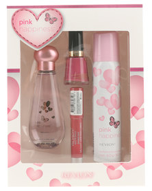Revlon Pink Happiness Gift Pack - 50ml EDT 90ml Body Spray Lipbalm Nail Enamel