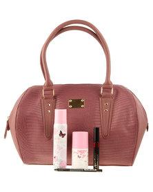 Revlon Handbag Dusty Pink With Masacara, Eyeliner, Pink Happiness Body Spray & Roll On
