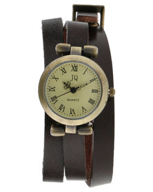Rings & Things Leather Wrap Watch Brown