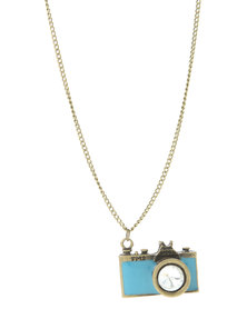 Rings & Things Camera  Necklace Gold-Tone